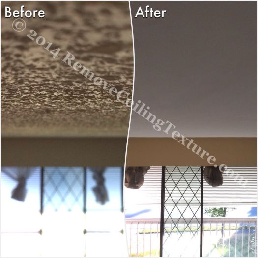 Before and after popcorn ceiling removal in the dining room of a Delta home.