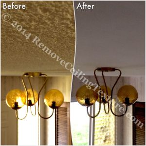 Before and after ceiling texture removal in the entrance area of a Delta home.