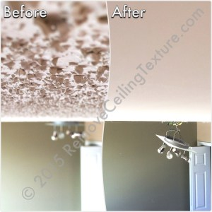 Before & After Renovations: Ceiling texture removal at a condo at 1188 Quebec St (Den)