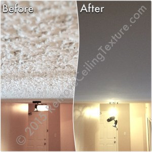 Before & After Renovations: Ceiling texture removal at a condo at 1188 Quebec St (Entrance)