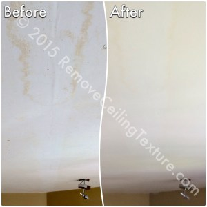 Before: Scraped ceilings are rough and ugly. After: Ceilings have been resurfaced to a smooth finish