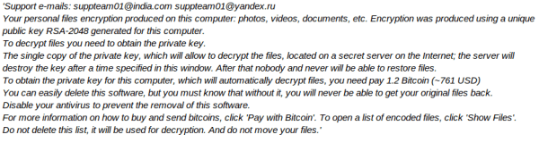Suppteam01@india.com Ransomware