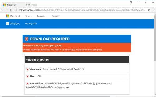 Ransomware 2.0; Trojan.Win32.SendIP.15 Pop-Up