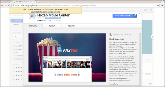 Elimina Flixtab Movie Center