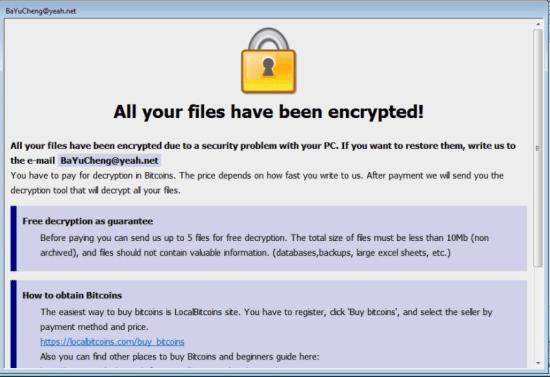 Lösegeld Hinweis von BaYuCheng@yeah.net Ransomware