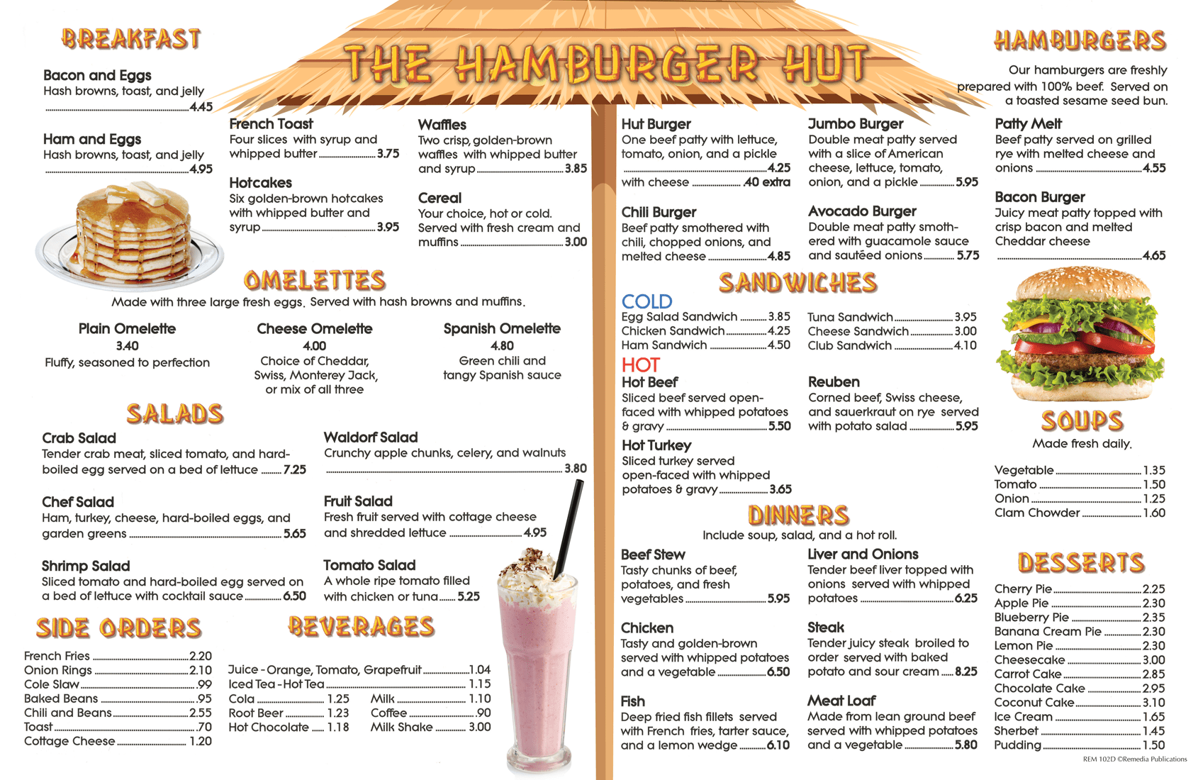Menu Math The Hamburger Hut 6 Extra Menus