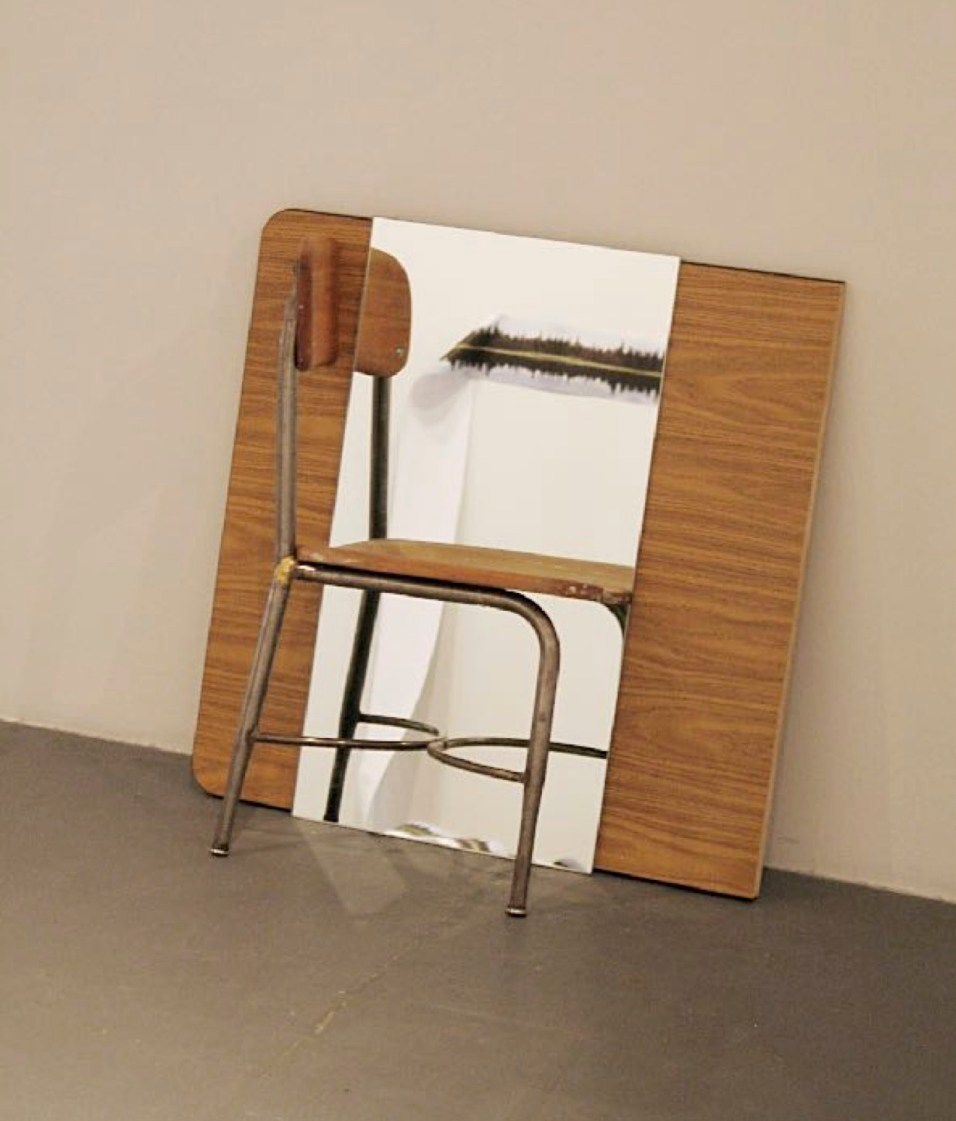 Vlatka Horvat, Mirror Chair, 2009, modified wood-and-steel chair, mirror, modified wooden table top