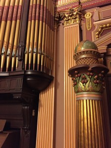 The Universe Globe atop a column, near the organ with disconnected pipes (painting the pipes ruined the tone)