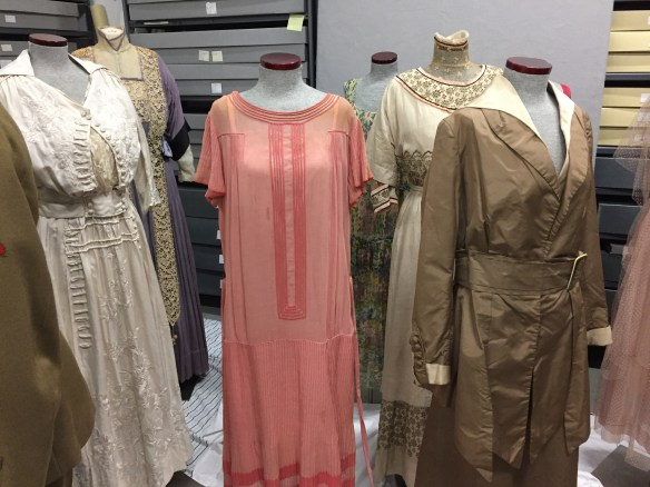 Bonus!  Non-Revolutionary-War gowns being staged for an upcoming Downton Abbey exhibit