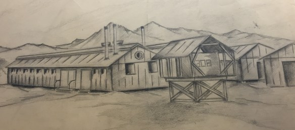 Sketch of the barracks. by W. Ogino, 1943
