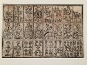 Uncut Sheet of Tarot Cards, North Italian, 15th century, woodcut on paper