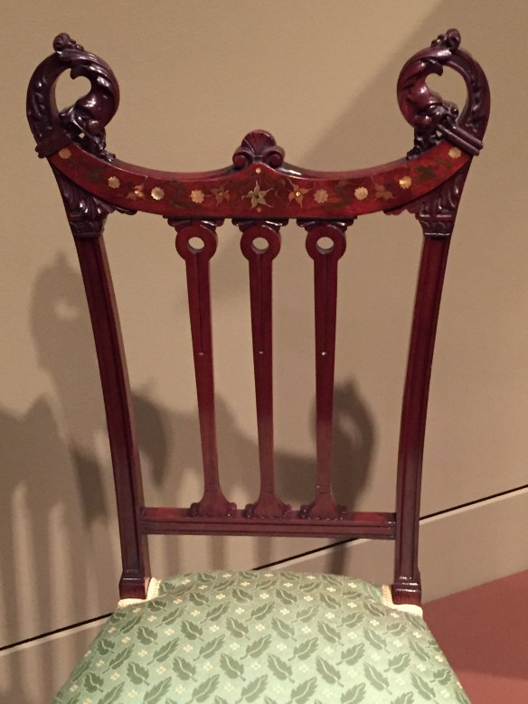 Side Chair, New York City, 1881-5, mahogany, other woods, mother-of-pearl, brass, copper, pewter, upholstery