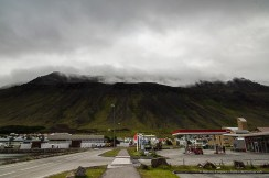 """Under the Volcano"". Gas station leaving Ísafjörður. Nikon D810, 24 mm (24-120.0 mm ƒ/4) 1/100 sec ƒ/11 ISO 800"