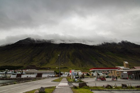 """Under the Volcano"". Gas station leaving Ísafjörður. Nikon D810, 24 mm (24-120.0 mm ƒ/4) 1/100 sec ƒ/11 ISO 800"