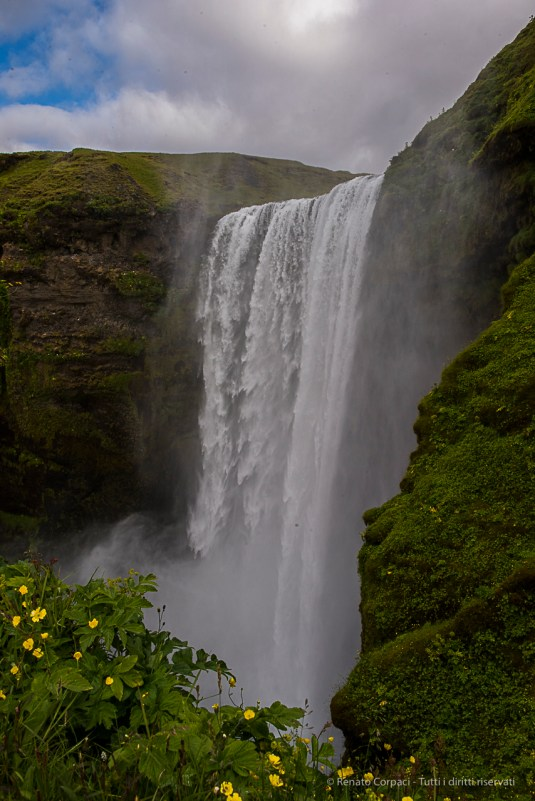 Located on the Skógá River, Skógafoss is one of the biggest waterfalls in the country with a width of 25 metres and a drop of 60 m. Nikon D810, 24 mm (24.0 mm ƒ/1.4) 1/160 sec ƒ/16 ISO 400