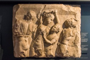 """Fragment of a sarcophagus with satyrs and maenads. Nikon D810, 24 mm (24-120.0 mm ƒ/4) 1/200"""" ƒ/4.5 ISO 6400"""