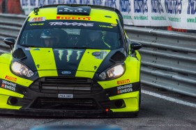 "Valentino Rossi and Carlo Cassina winners of the Monster Energy Monza Rally Show 2016. on a Ford Fiesta WRC 1.6. Nikon D810, 400 mm (80-400.0 mm ƒ/4.5-5.6) 1/800"" ƒ/6.3 ISO 2500"