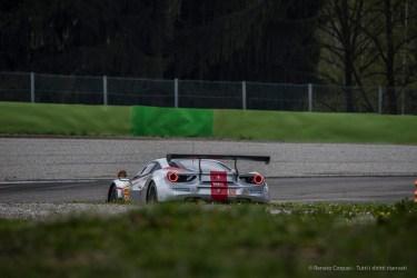 """Tomas Flohr's Ferrari 488 GTE entering Lesmo 2. Nikon D750, 400 mm (80-400.0 mm ƒ/4.5-5.6) 1/800"""" ƒ/8 ISO 500"""