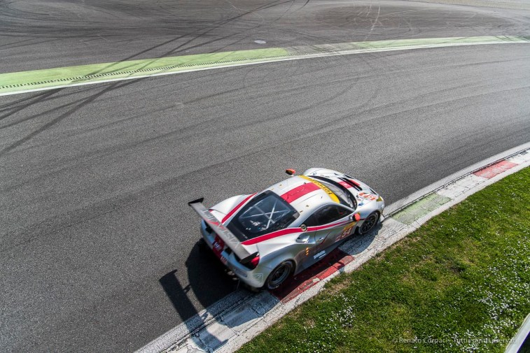 "Thomas Flhor on Ferrari 488 GTE at the exit of the Parabolica. Nikon D810, 24 mm (24-120.0 mm ƒ/4.0) 1/1000"" ƒ/4 ISO 64"