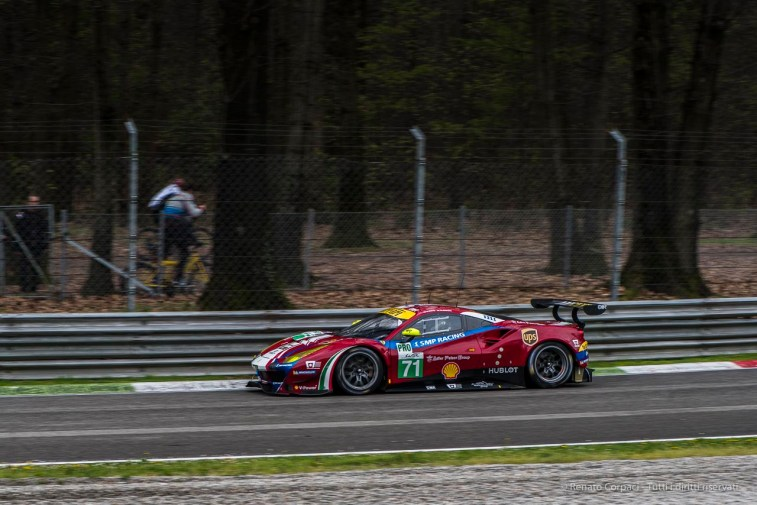"Davide Rigon's Ferrari 488 GTE showing-off at Lesmo 1. Nikon D810, 105 mm (105.0 mm ƒ/2.8) 1/400"" ƒ/8 ISO 500"