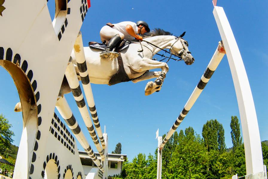 Foto di equitazione scattata dal basso verso l'alto