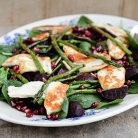 British Asparagus, spinach, beetroot and halloumi salad