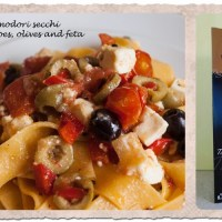 Pappardelle with olives and feta