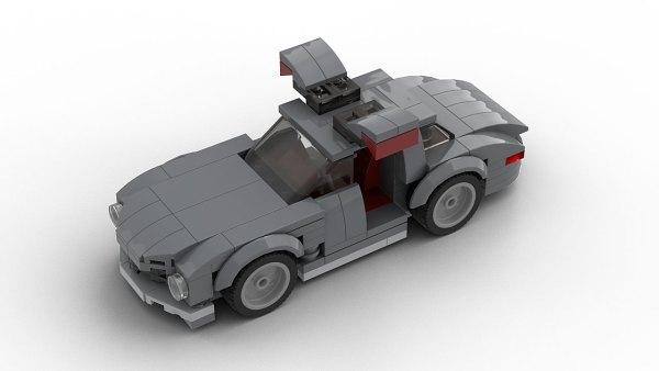 LEGO Mercedes SL300 Gullwing Model with open doors top view