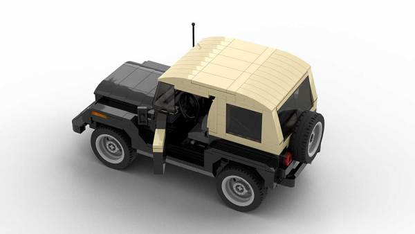 LEGO Jeep Wrangler YJ model with open doors