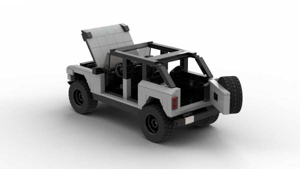 LEGO Ford Bronco 2021 4-door model with opened hood and tailgate