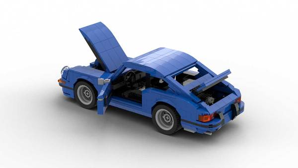 LEGO Porsche 911 Classic model with opened hood