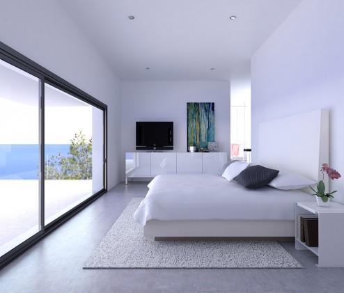 Infografia interior y decoracion de habitación principal