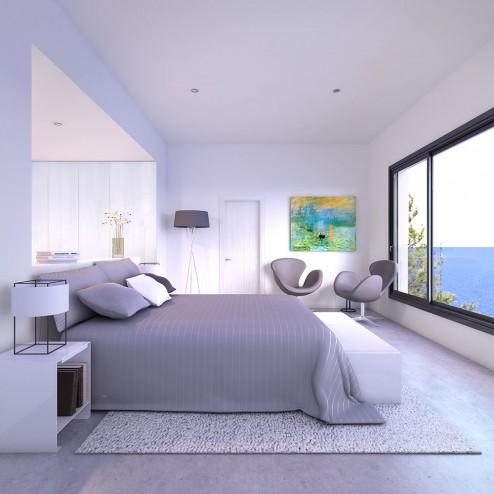 Infografia interior y decoracion de habitacion de invitados