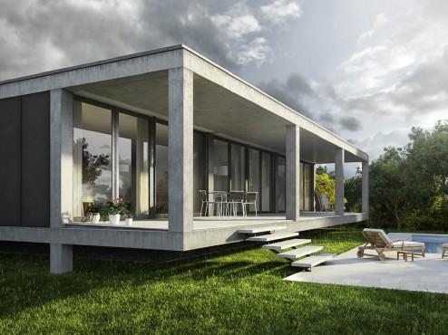 Renders exteriores e interiores de una vivienda unifamiliar aislada en Cala Pi, Mallorca (1/6)