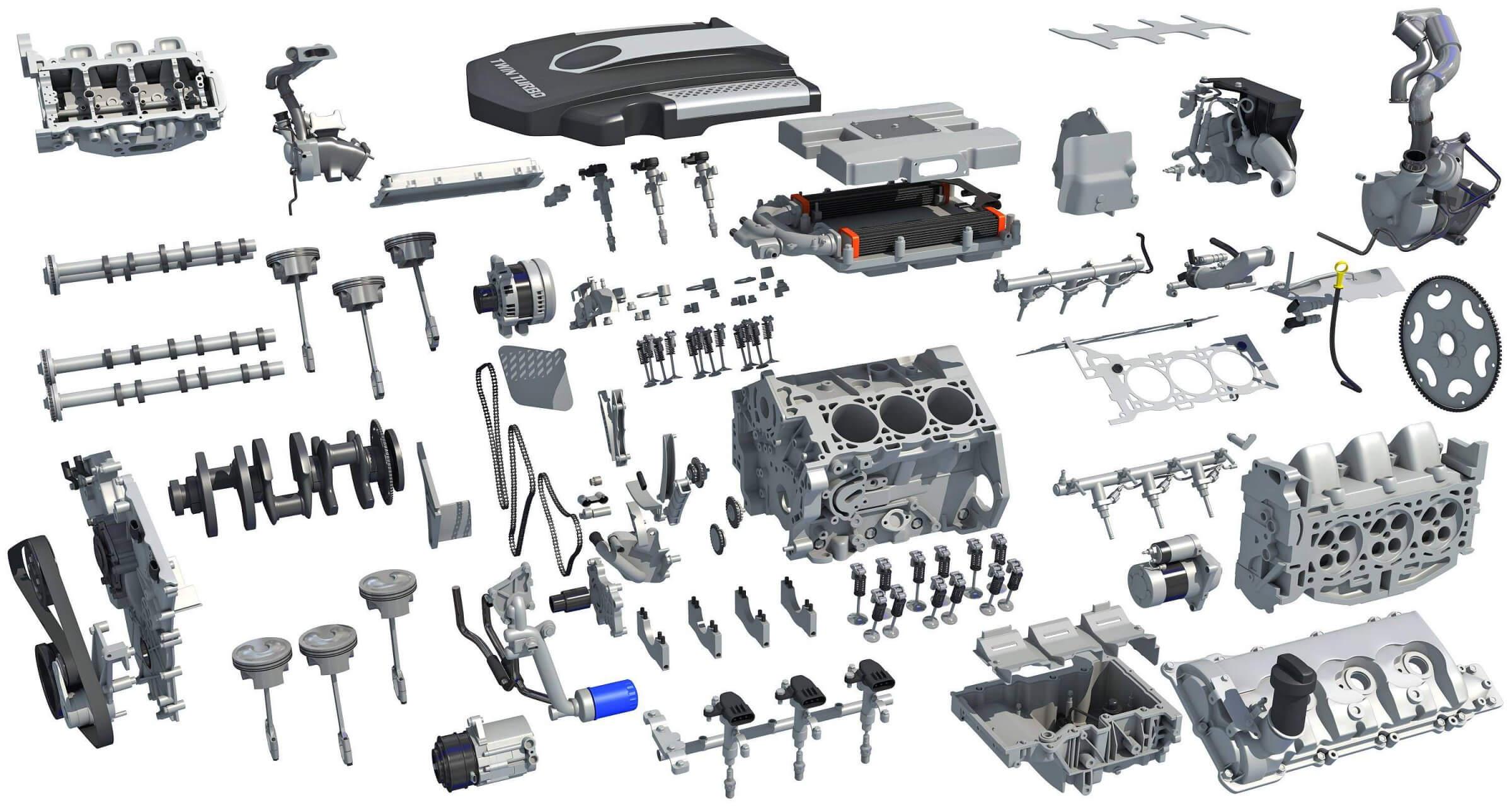 Full Twin Turbo V6 Car Engine 3d Model