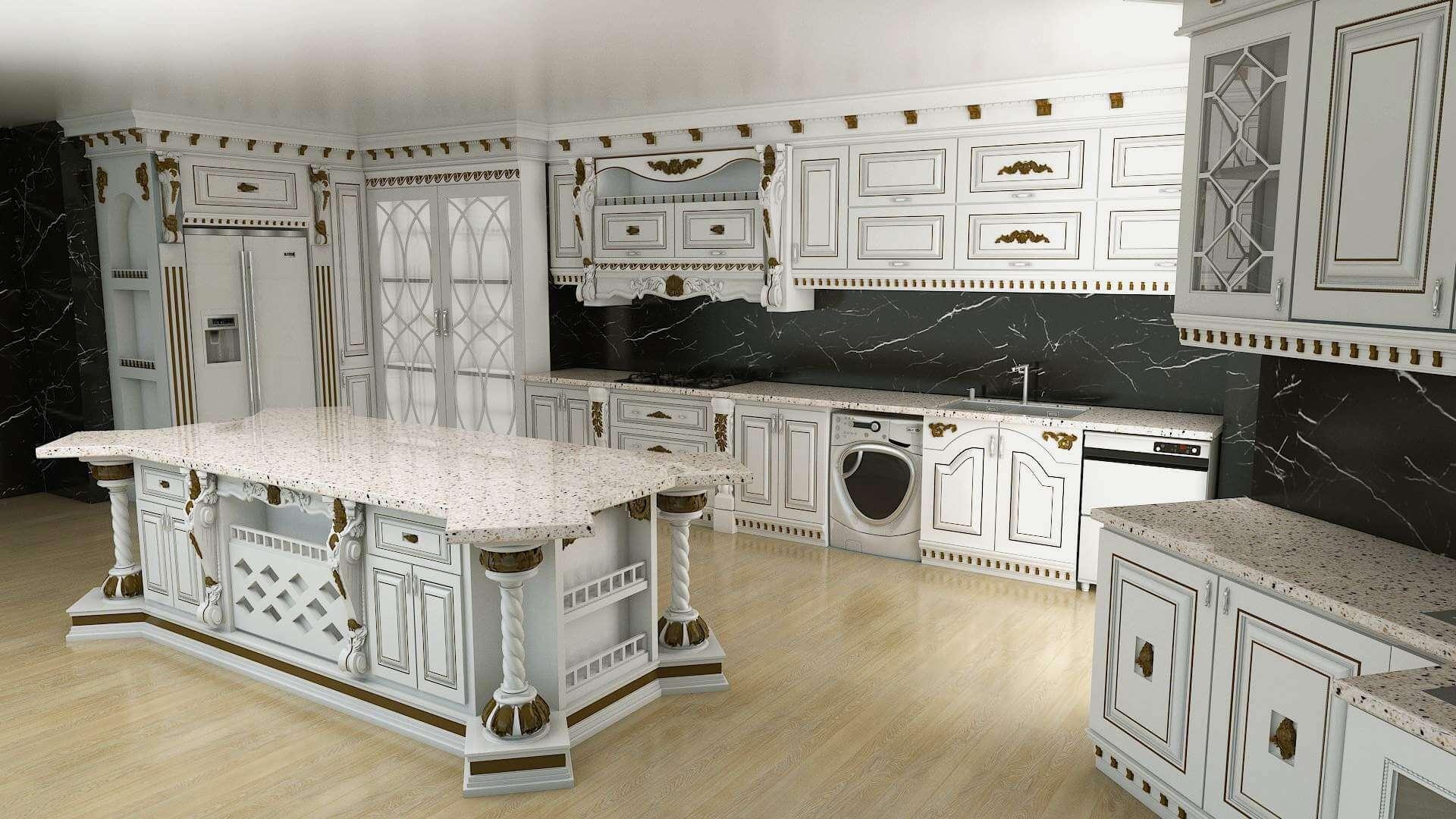 Super Classic Kitchen 3D Model on Model Kitchen Images  id=59019