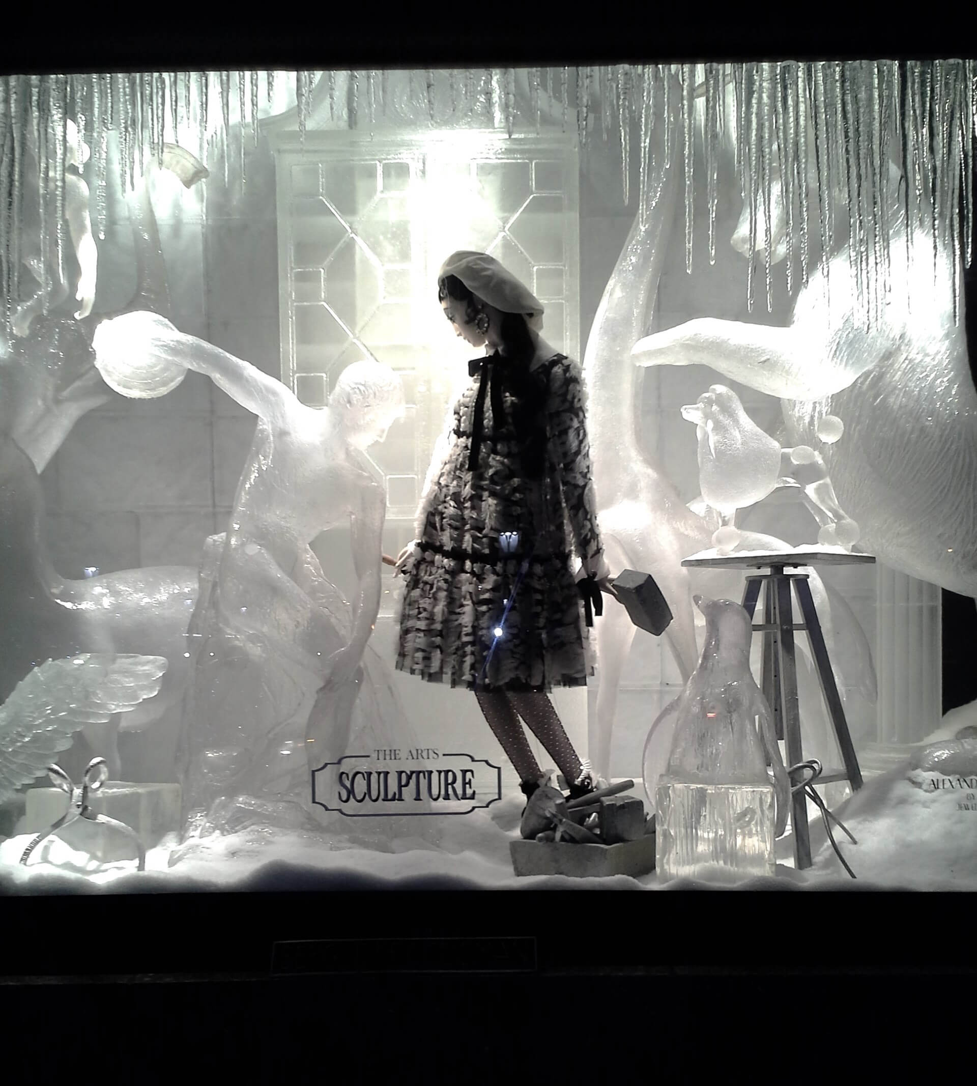 The pursuit of sculpture holiday window