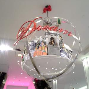Rotating hanging ornaments in the main hallway of Macy's Herald Square