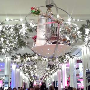 Macy's Herald Square in NYC main hallway twinkles in bright lights