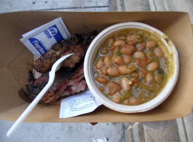 Lamb brisket and beans
