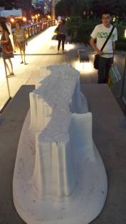 Stone sculpture of the Island of Manhattan at the High Line NYC