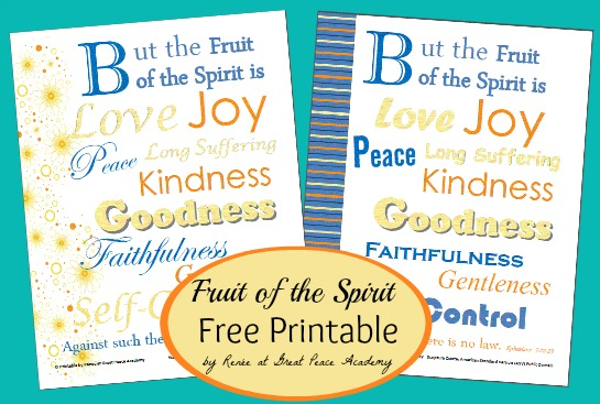 Fruit of the Spirit free printable by Renée at Great Peace Academy