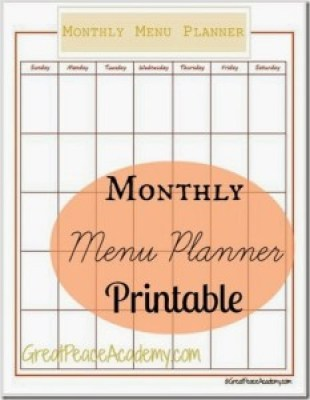 Monthly Meal Plan - Meal Planning Printables