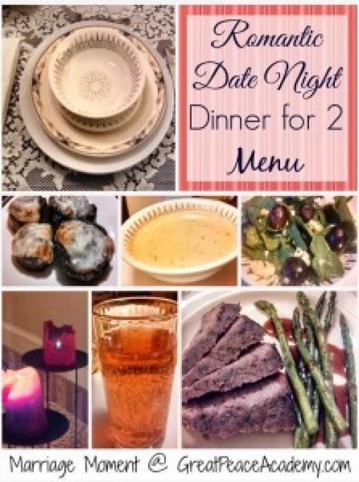 Romantic Dinner for 2 Menu
