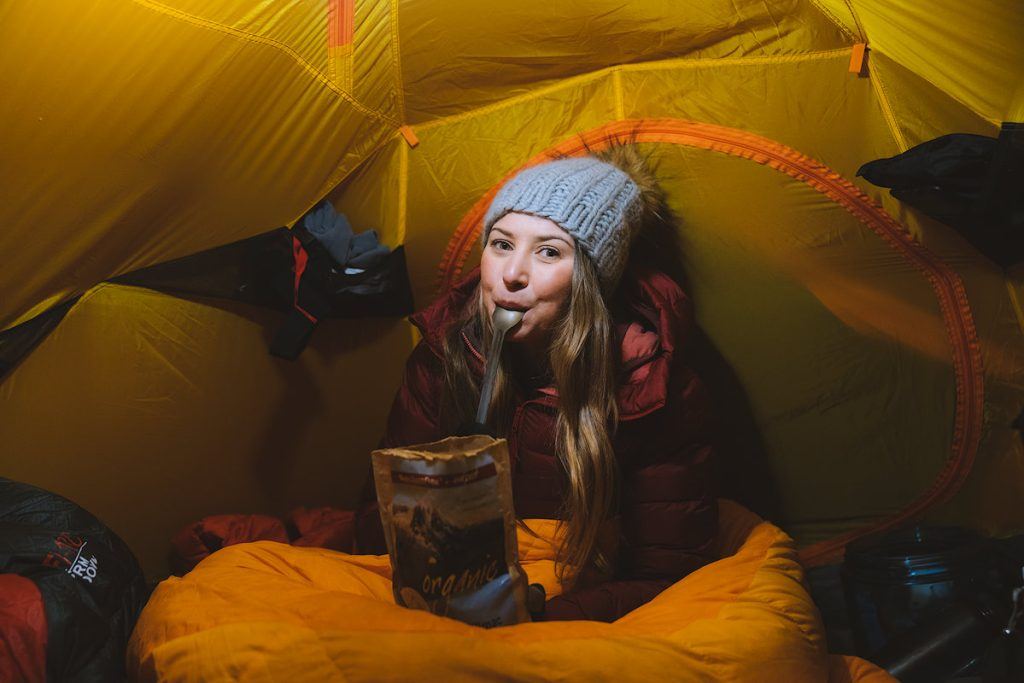 Ultimate Guide to Winter Hiking and Camping - backpacking meal