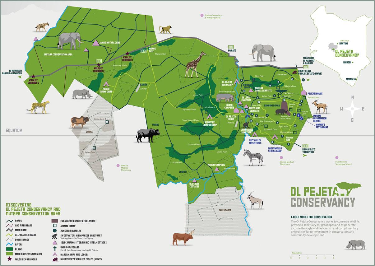 Ultimate Safari Adventure at Ol Pejeta Conservancy Kenya Map of Ol Pejeta