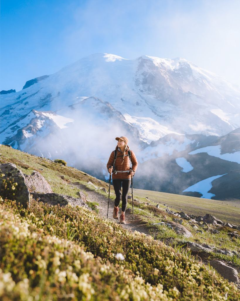 how to plan the perfect national parks trip - hiking in mount rainier national park washington
