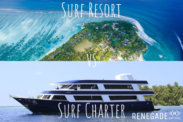 Title image - maldives surf charter vs surf resort