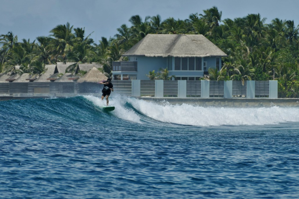 small, fun waves in the Maldives
