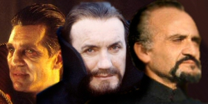 merged picture of three actors who played The Master